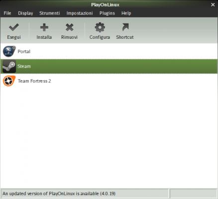 Configurazione di PlayOnLinux