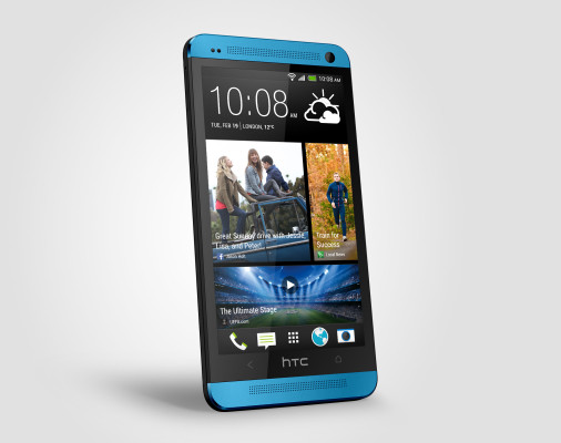 HTC One blue Perspective Left Source Render
