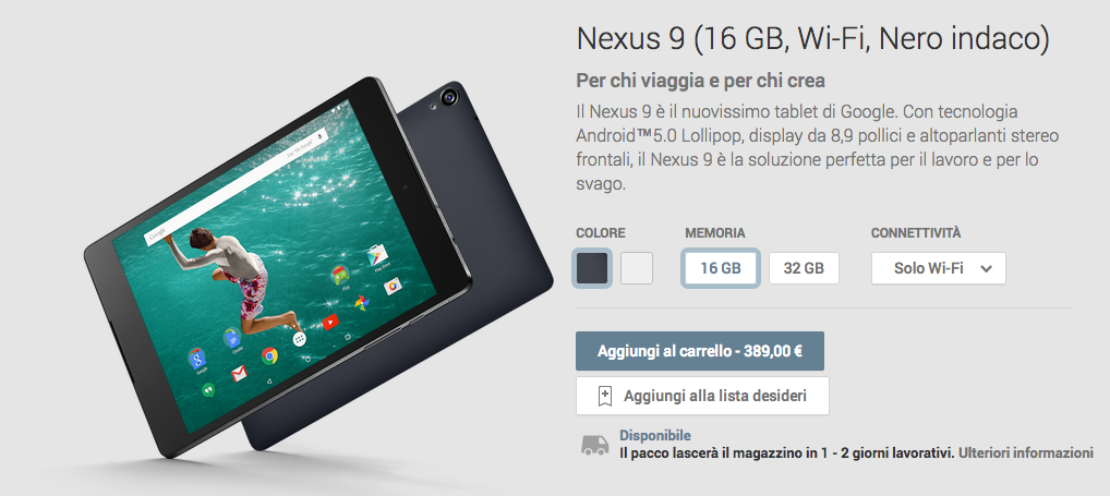 HTC Nexus 9 disponibile nel Play Store a partire da 389 ...